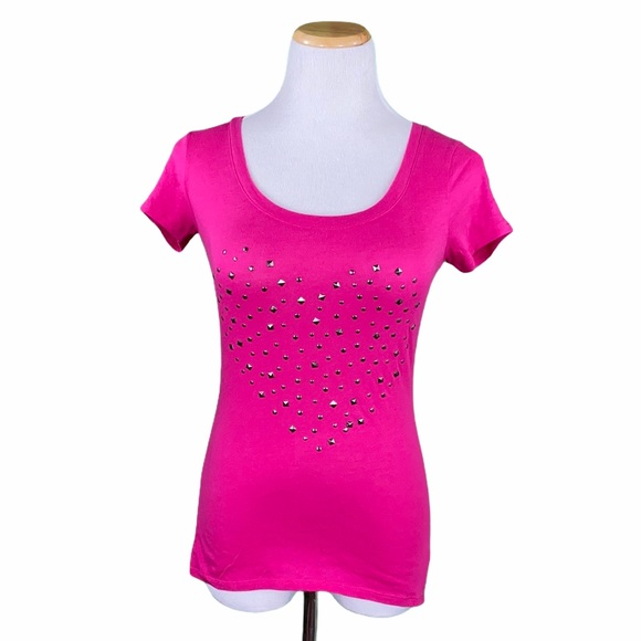 Express Outlet Pink Heart Shaped Rhinestone Tee